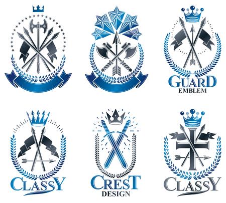 Vintage wapenemblemen instellen. Vintage vector design elementen collectie. Retro-stijl label, heraldiek.