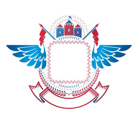 Ancient Fort emblem. Heraldic Coat of Arms decorative wings isolated vector illustration decorated with medieval fortress and laurel wreath.