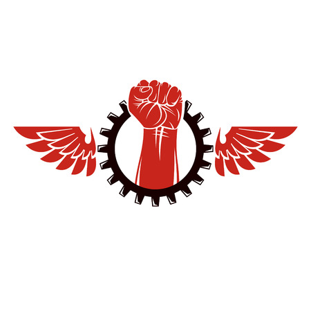 Raised human arm surrounded by engineering cog wheel. Proletarian leader abstract vector illustration, social revolution concept.