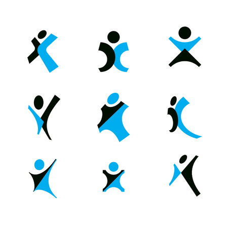 Vector illustration of joyful abstract individual with arms reaching up. Happiness metaphor logo.