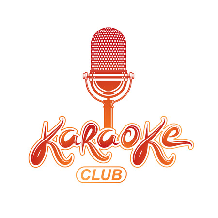 Karaoke club lettering, nightclub party invitation vector emblem created using stage microphone audio equipment.