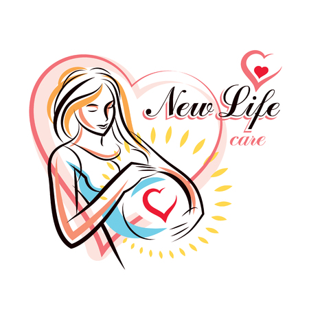 Pregnant woman elegant body silhouette, sketchy vector illustration. Gynecology and pregnancy medical care clinic promotion leaflet