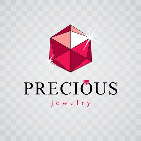Vector elegant sparkling gem. Luxury diamond sign emblem. Brilliant jewelry illustration.