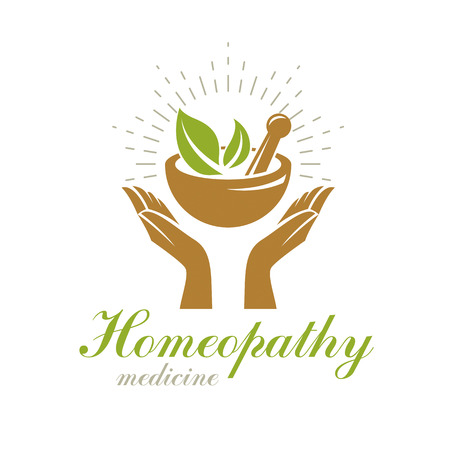 Caring hands holding mortar and pestle. Phytotherapy metaphor, vector graphic emblem can be used in medical treatment organizations. Stock Illustratie