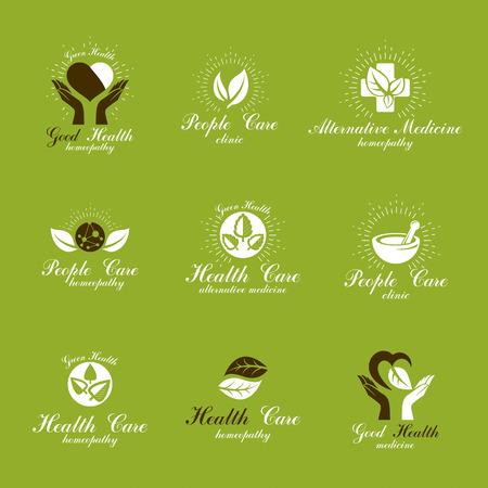 Colección de símbolos creativos de homeopatía. Restauración de emblemas de vectores conceptuales de salud creados con hojas verdes, formas de corazón, cruces religiosas y manos cariñosas. Ilustración de vector