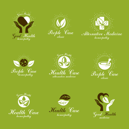 Homeopathy creative symbols collection. Restoring to health conceptual vector emblems created using green leaves, heart shapes, religious crosses and caring hands.
