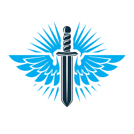 Vector graphic illustration of sword created with bird wings, battle and security metaphor symbol. Illustration