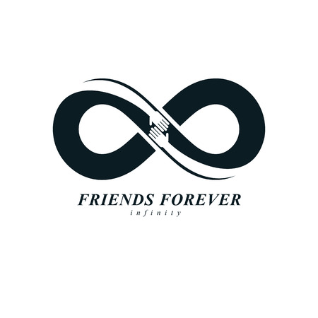 Infinity sign with two hands touching each other, infinite friendship concept, forever friends vector creative logo.
