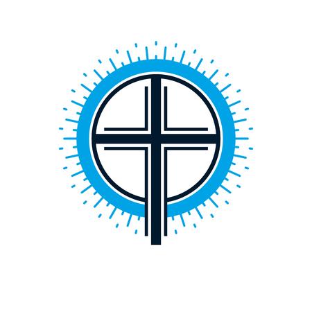 기독교 십자가 하나님 벡터 상징, 기독교 종교 아이콘에 대 한 진정한 믿음.