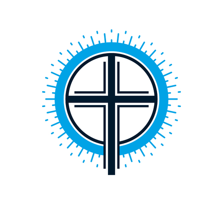 Christian Cross true belief in God vector symbol, Christianity religion icon.