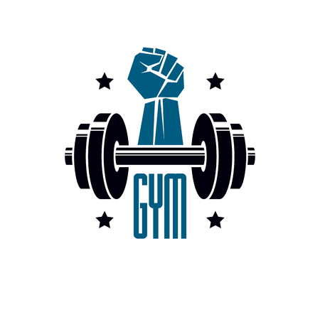 Gym weightlifting and fitness sport club signage, retro stylized vector emblem or badge. With barbell and strong hand fist.