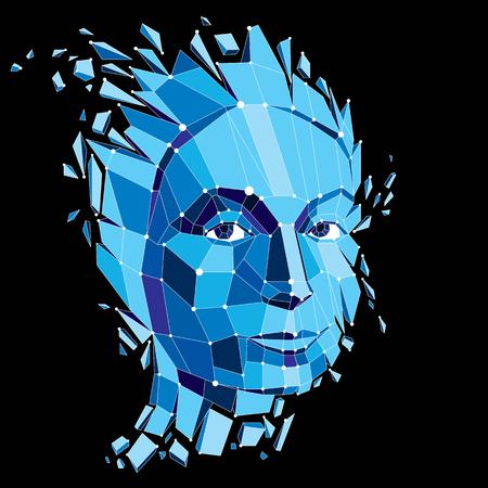 Porträt des Vektors 3d geschaffen mit Linien Masche. Intelligence Allegorie, blaues Low-Poly-Gesicht mit Splittern, die auseinander fallen, Kopf explodiert mit Ideen, Gedanken und Phantasie. Standard-Bild - 92950268