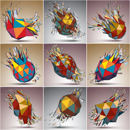 Set of 3d vector low poly objects with black connected lines and dots. Colorful wire frame damaged shapes with triangular fragments. Lattice perspective shattered forms collection, explosion effect. Ilustração Vetorial