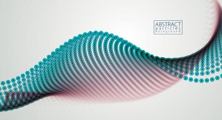Matrix van vloeiende deeltjes, dynamische geluidsgolf. 3D-vectorillustratie Mesh van gloeiende stippen, mooie illustratie.