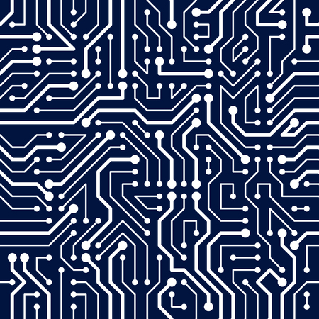 Circuit board seamless pattern, vector background. Microchip technology electronics wallpaper repeat design. 矢量图像