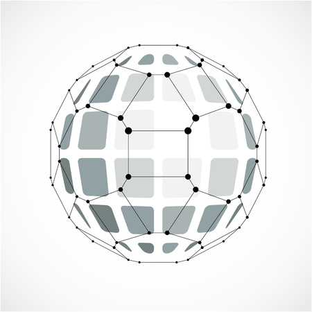 3d vector digital wireframe spherical object made using facets. Geometric polygonal gray ball created with lines mesh and pentagons. Low poly shape, lattice form for use in web design. Illustration