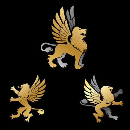 Winged Lion ancient emblems elements set. Heraldic vector design elements collection. Retro style label, heraldry icon .
