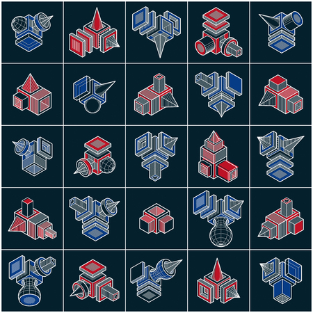 3D designs, set of abstract vector shapes. Ilustração