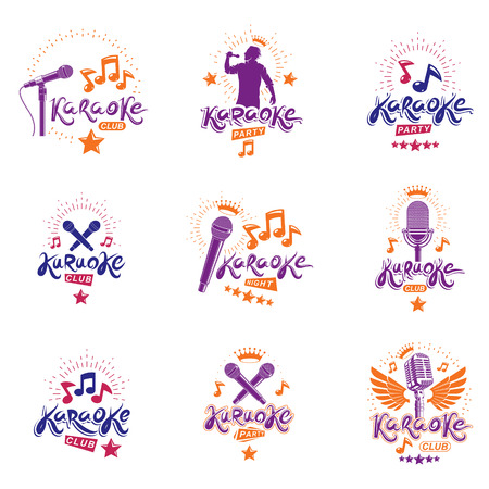 Collection of vector design elements which can be best used for karaoke theme emblems and posters composition. Leisure and relaxation lifestyle presentation, carnival concept.