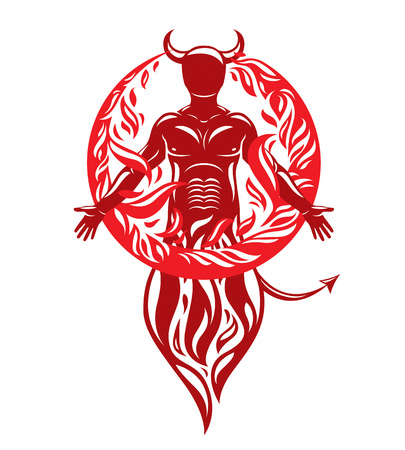 Vector graphic illustration of strong horned wicked male, body silhouette surrounded by a fireball. Demonic infernal creature, Satan.