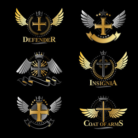 Christian Crosses emblems set. Heraldic Coat of Arms decorative logos isolated vector illustrations collection. Çizim
