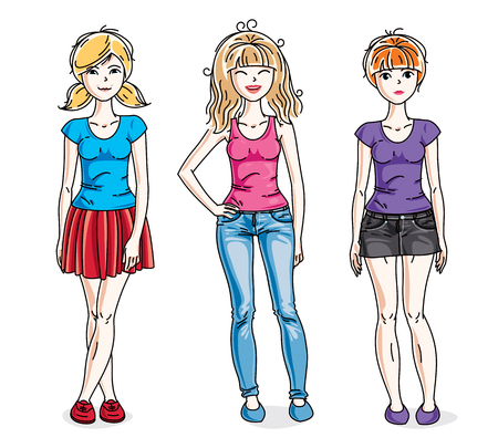 Happy cute young women group standing wearing fashionable casual clothes. Vector set of beautiful people illustrations.