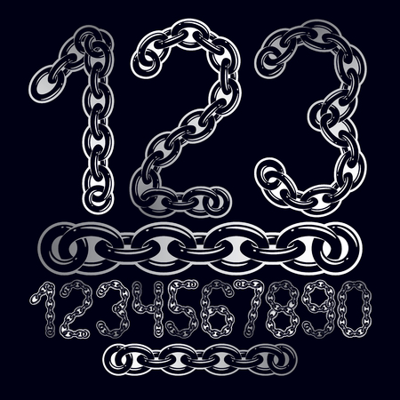 Vector modern numbers collection. Trendy  numbers for use as poster design elements. Created using metal connected chain link.