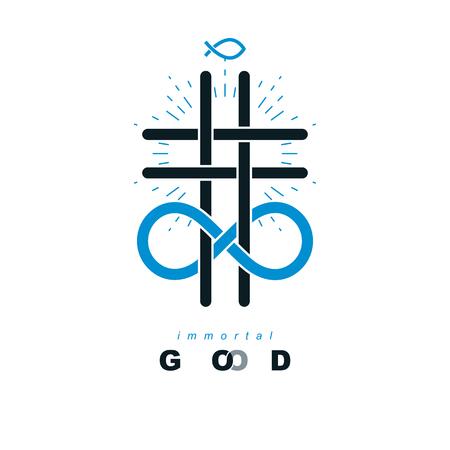 Eeuwig God vector creatief symboolontwerp. Gecombineerd met oneindige eindeloze lus en christelijk kruis, vectorpictogram of teken. Stock Illustratie