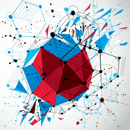 3d vector abstract colorful background created in Bauhaus retro style. Dimensional geometric composition with low poly shattered object and graphic elements can be used as templates and layouts. Stock Vector - 92994928