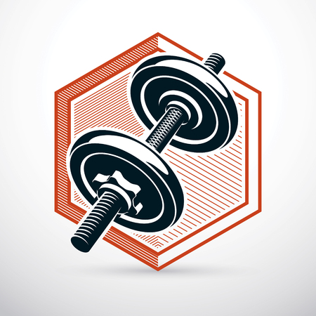 Dumbbell vector illustration isolated on white composed with disc weight. Sport equipment for weight lifting and cross fit training. Stock Vector - 92943138
