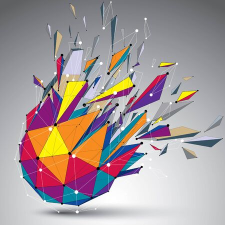 Abstract 3d faceted figure with connected lines and dots. Vector low poly shattered design element with fragments and particles. Explosion effect.