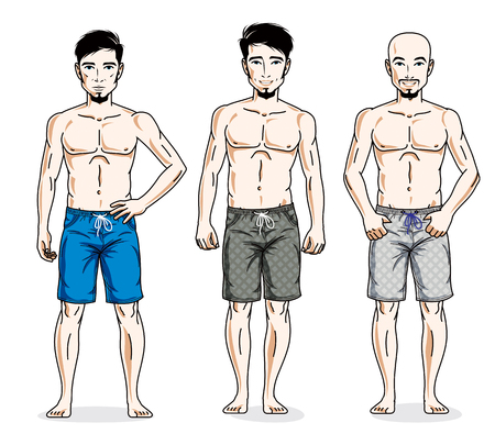 Happy men standing in colorful beach shorts. Vector different people characters set.