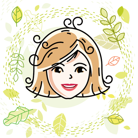 Caucasian woman face expressing positive emotions, vector human head illustration. Attractive blonde female with stylish haircut poses on spring season theme background.