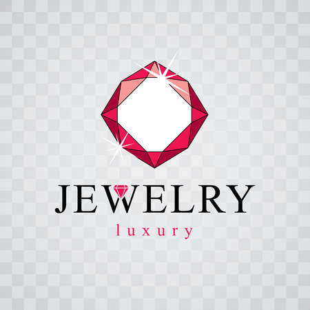 Vector luxury faceted decorative element. Brilliant jewelry sign emblem, illustration.