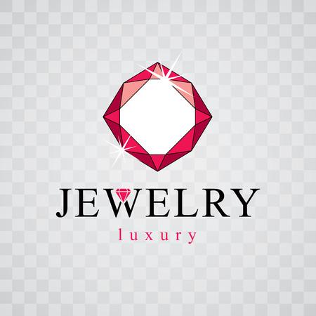 Vector luxury faceted decorative element. Brilliant jewelry sign emblem, illustration.
