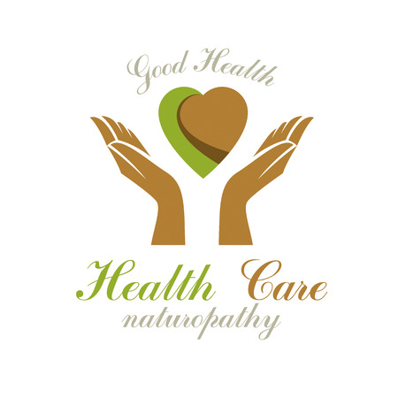 Caring hands holding heart. Alternative medicine concept, vector phytotherapy icon. Strong heart is good health. Иллюстрация