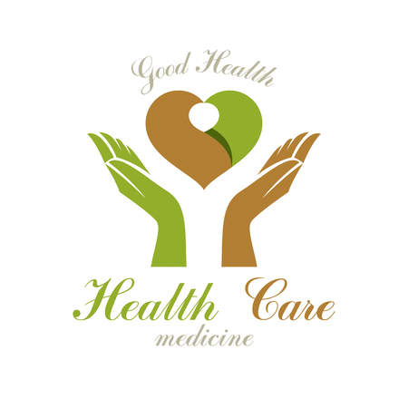 Vector heart shape composed with green leaves and caring hands. Medical rehabilitation abstract icon for use in charitable organizations. Illustration