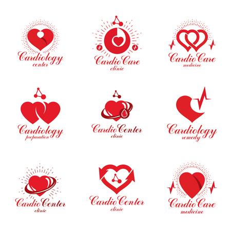 Red hearts created with ecg chart and circulation arrows. Set of cardio rehabilitation center vector icon for use as drugstore emblems. Illustration