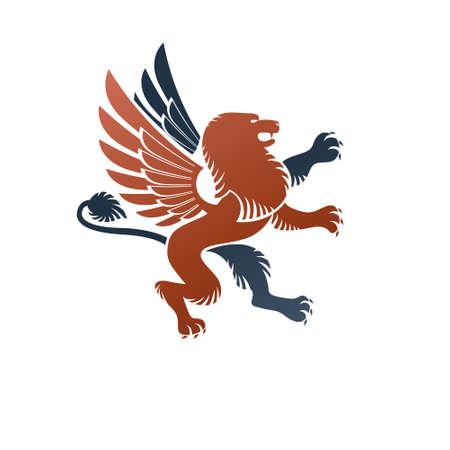 Winged Gryphon, mythical animal ancient emblem element. Heraldic vector design element. Retro style label, heraldry logo. Stock Illustratie