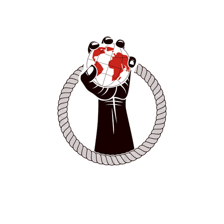 Muscular clenched fist of strong man surrounded by rope and holds Earth globe, vector illustration. Global authority as the means of political and social influence Ilustração