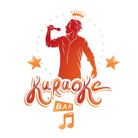 Happy man sings karaoke, karaoke bar promotion flyer template design. Vector illustration.
