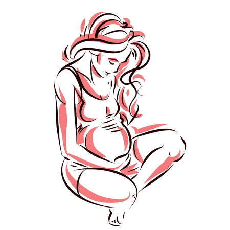 Pregnant female beautiful body outline, mother-to-be vector drawn illustration. Happiness and caring theme. Mothers day. Çizim
