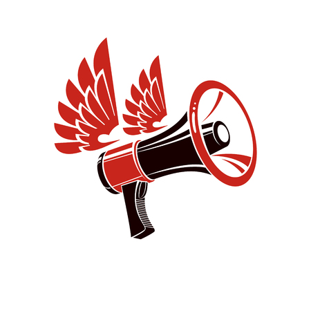 Loudspeaker vector illustration isolated on white. Misleading and brainwashing information, fake news concept