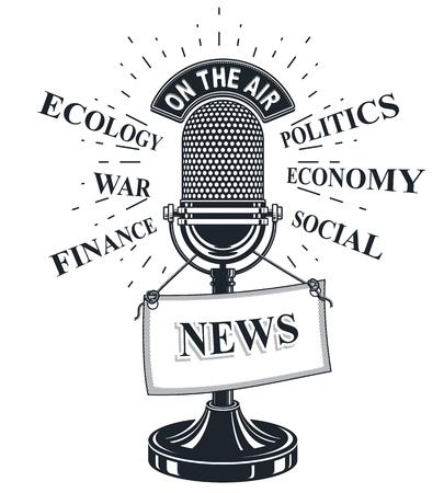 Retro studio microphone vector illustration with news label. Social media communication idea
