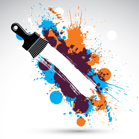 Art drawn funky vector illustration created with splashes and inky spots. Decorative colorful wallpaper drawn with painting brush can be used as website background. You can write your text here.