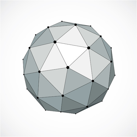 Perspective technology shape with black lines and dots connected, polygonal wire frame object. Abstract gray faceted element for use as design structure on communication technology theme Illustration