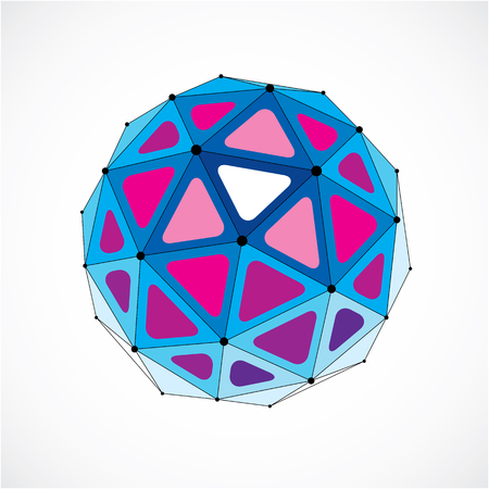 Vector dimensional wire frame low poly object, purple spherical shape with black grid. Technology 3d mesh element made using triangular facets for use as design form in engineering.