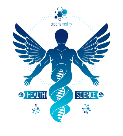 Vector graphic illustration of strong male depicted as DNA symbol continuation and created with wire frame connections and bird wings. Biomedical engineering concept. Vettoriali