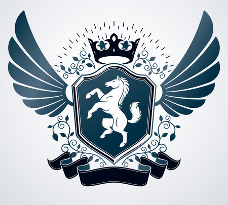 Heraldic emblem isolated vector illustration. Vettoriali
