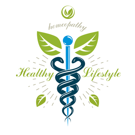 Caduceus vector conceptual emblem created with snakes and green leaves. Wellness and harmony metaphor. Alternative medicine concept, phytotherapy logo. Çizim